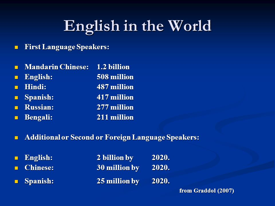 English in the World First Language Speakers: First Language Speakers: Mandarin Chinese:1.2 billion Mandarin Chinese:1.2 billion English: 508 million