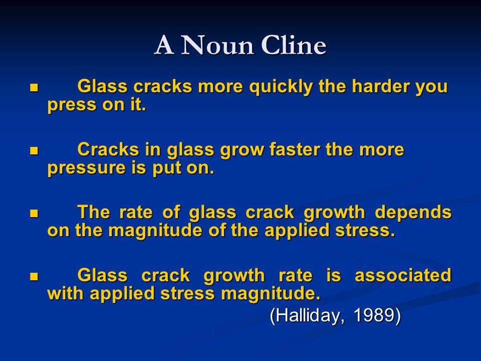 A Noun Cline Glass cracks more quickly the harder you press on it. Glass cracks more quickly the harder you press on it. Cracks in glass grow faster t