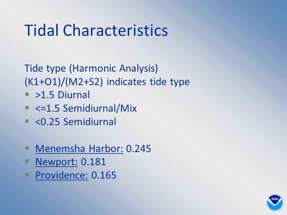 Tidal Characteristics Tide type (Harmonic Analysis) (K1+O1)/(M2+S2) indicates tide type  >1.5 Diurnal  <=1.5 Semidiurnal/Mix  <0.25 Semidiurnal  Menemsha Harbor: 0.245  Newport: 0.181  Providence: 0.165