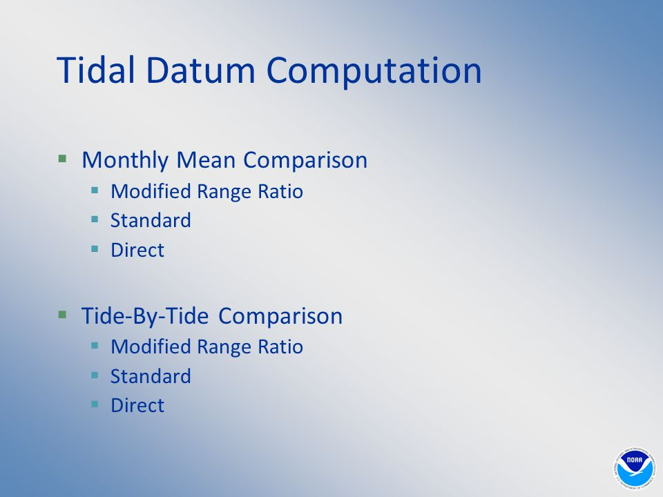  Monthly Mean Comparison  Modified Range Ratio  Standard  Direct  Tide-By-Tide Comparison  Modified Range Ratio  Standard  Direct