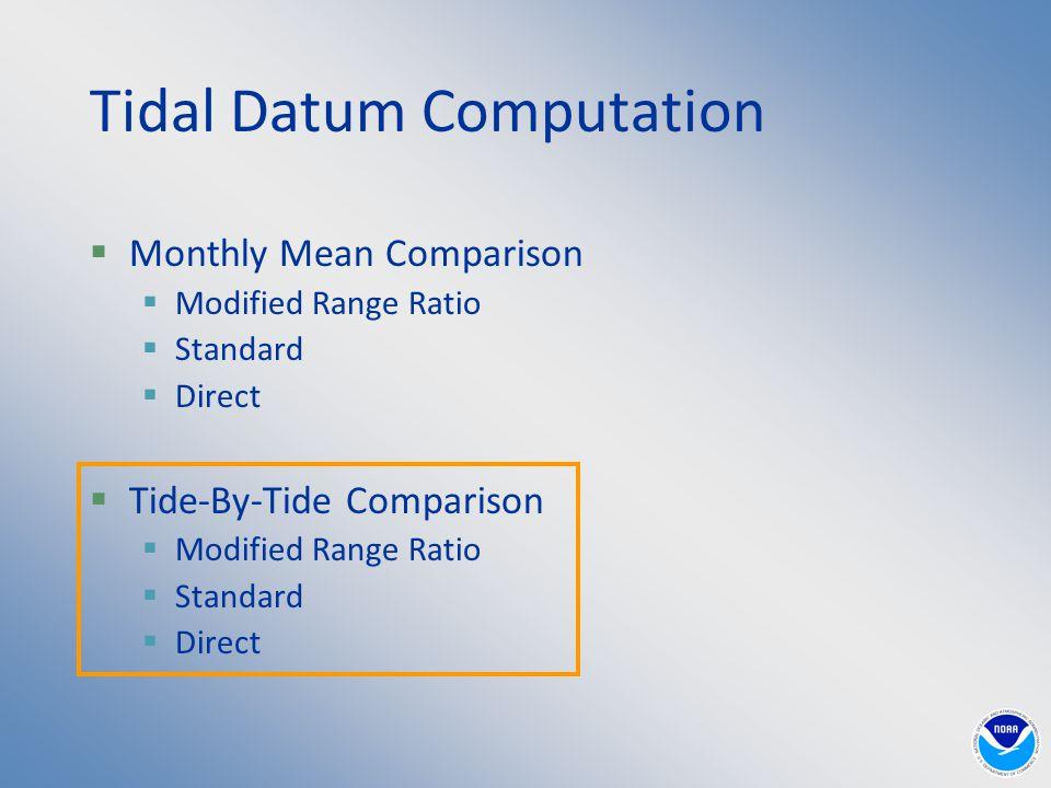Tidal Datum Computation  Monthly Mean Comparison  Modified Range Ratio  Standard  Direct  Tide-By-Tide Comparison  Modified Range Ratio  Standard  Direct