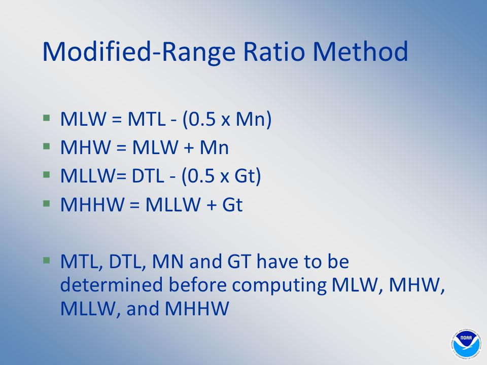 Modified-Range Ratio Method  MLW = MTL - (0.5 x Mn)  MHW = MLW + Mn  MLLW= DTL - (0.5 x Gt)  MHHW = MLLW + Gt  MTL, DTL, MN and GT have to be determined before computing MLW, MHW, MLLW, and MHHW