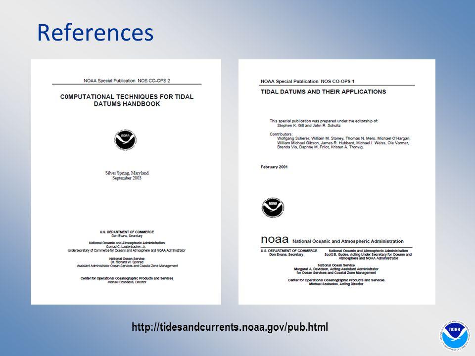 http://tidesandcurrents.noaa.gov/pub.html References