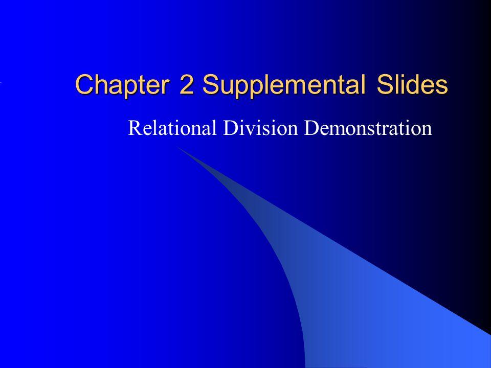 Chapter 2 Supplemental Slides Relational Division Demonstration
