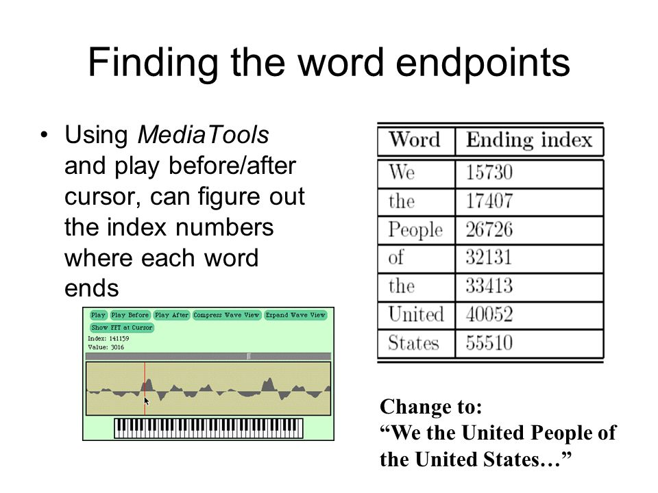 Finding the word endpoints Using MediaTools and play before/after cursor, can figure out the index numbers where each word ends Change to: We the United People of the United States…