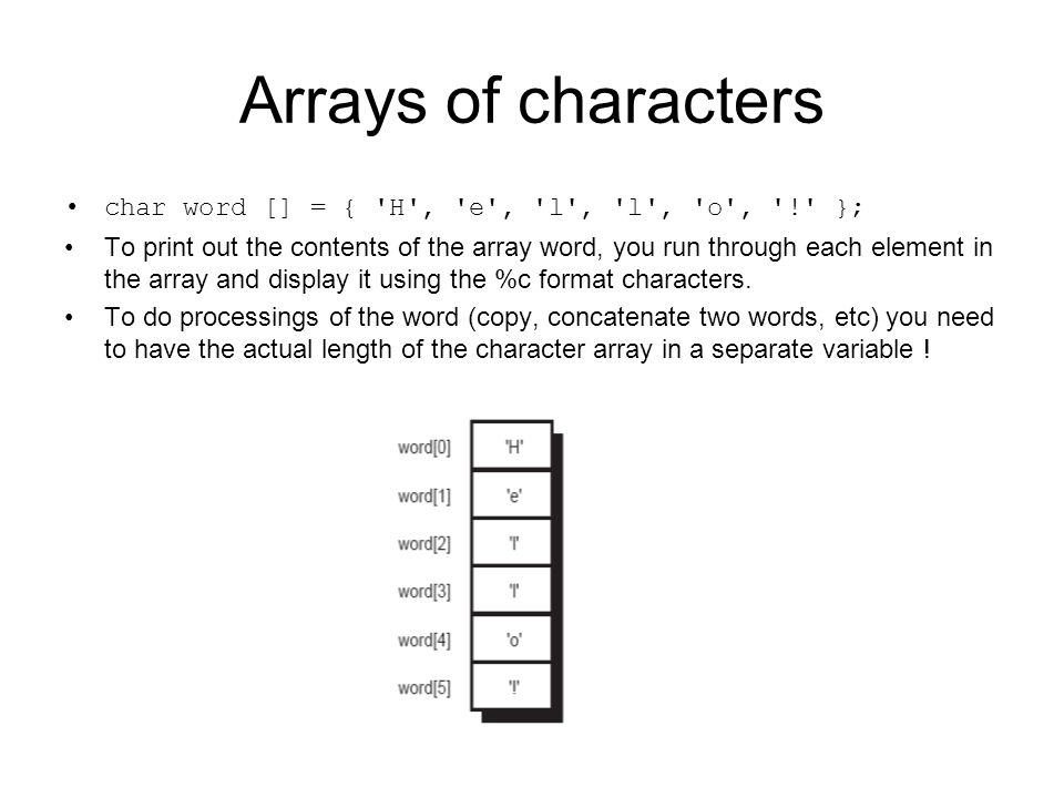 Arrays of characters char word [] = { H , e , l , l , o , ! }; To print out the contents of the array word, you run through each element in the array and display it using the %c format characters.