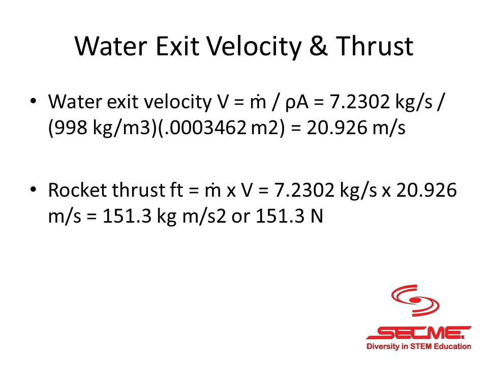 Net Force on Rocket Net force f = f t – f d – (m ave x g) F = 151.3 kg m/s2 – 0 – ((0.3 + 0.7 kg)/2) x (9.8 m/s2) = 146.4 kg m/s2 or 146.4 N Note: M ave = mass of empty rocket + mass of water selected Mass of rocket was weighted at 300 g, or 0.3 kg Water selected was 0.7 kg f d is the drag coefficient and is very low in this case