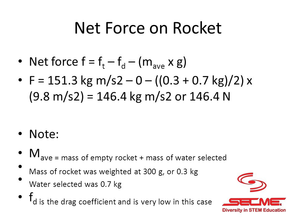 Rocket Acceleration The rocket acceleration is a result of the net force acting on the mass f = m ave x a, so a = f/ m ave A = (146.4 N) / ((0.3 + 0.7 kg)/2) = 292.8 m/s 2