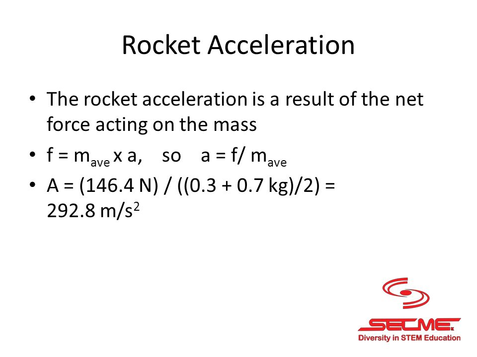 Rocket Acceleration The rocket acceleration is a result of the net force acting on the mass f = m ave x a, so a = f/ m ave A = (146.4 N) / ((0.3 + 0.7