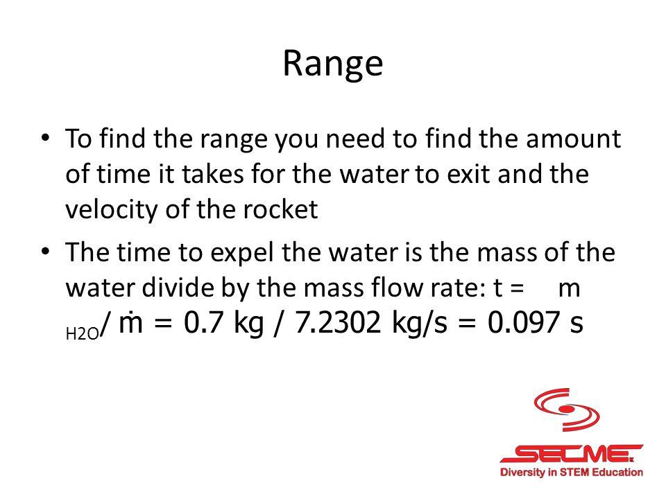 (Range cont.) Velocity of the bottle V rocket is a x t = (292.8 m/s 2 ) x (0.097 s) = 28.4 m/s So the range R is V 2 rocket x sin 2 Ө / g Ө is the launch angle which is 45° in this case.