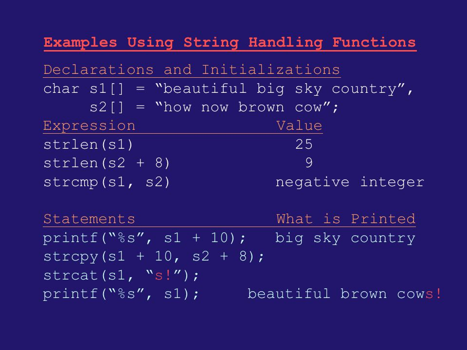 "Examples Using String Handling Functions Declarations and Initializations char s1[] = ""beautiful big sky country"", s2[] = ""how now brown cow""; Express"