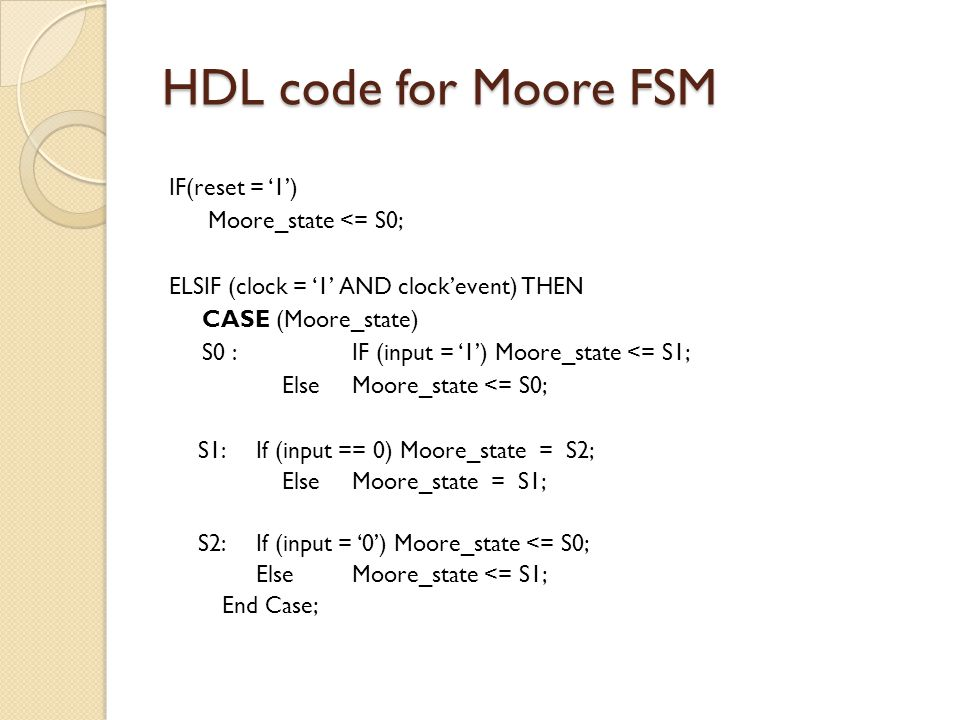 HDL code for Moore FSM IF(reset = '1') Moore_state <= S0; ELSIF (clock = '1' AND clock'event) THEN CASE (Moore_state) S0 : IF (input = '1') Moore_state <= S1; ElseMoore_state <= S0; S1: If (input == 0) Moore_state = S2; ElseMoore_state = S1; S2: If (input = '0') Moore_state <= S0; Else Moore_state <= S1; End Case;