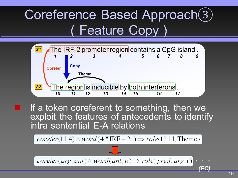 19 Coreference Based Approach ③ ( Feature Copy ) If a token coreferent to something, then we exploit the features of antecedents to identify intra sentential E-A relations Theme Corefer S1 S2 The IRF-2 promoter region contains a CpG island.