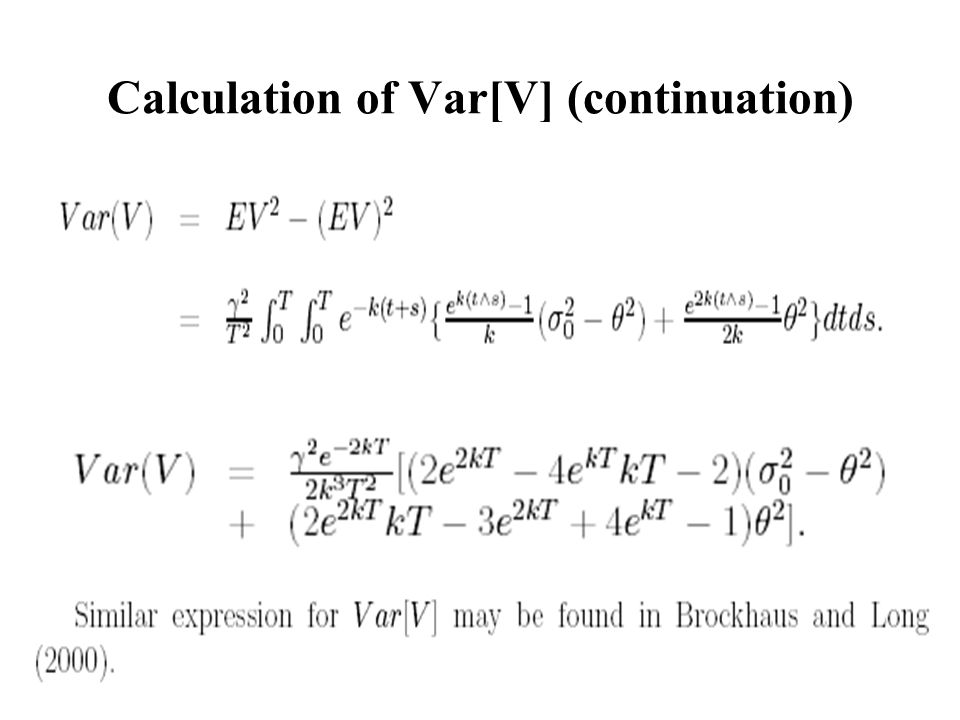Calculation of Var[V] (continuation)