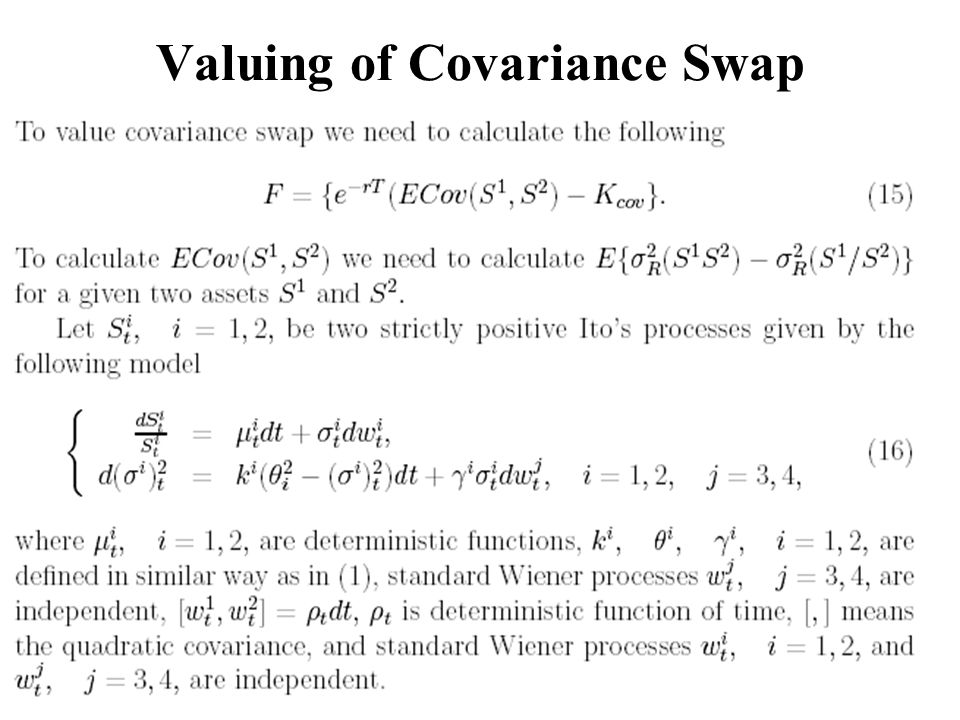 Valuing of Covariance Swap