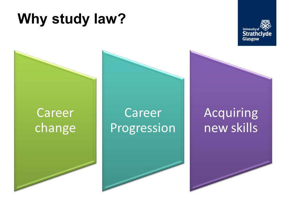 Why study law? Career change Career Progression Acquiring new skills