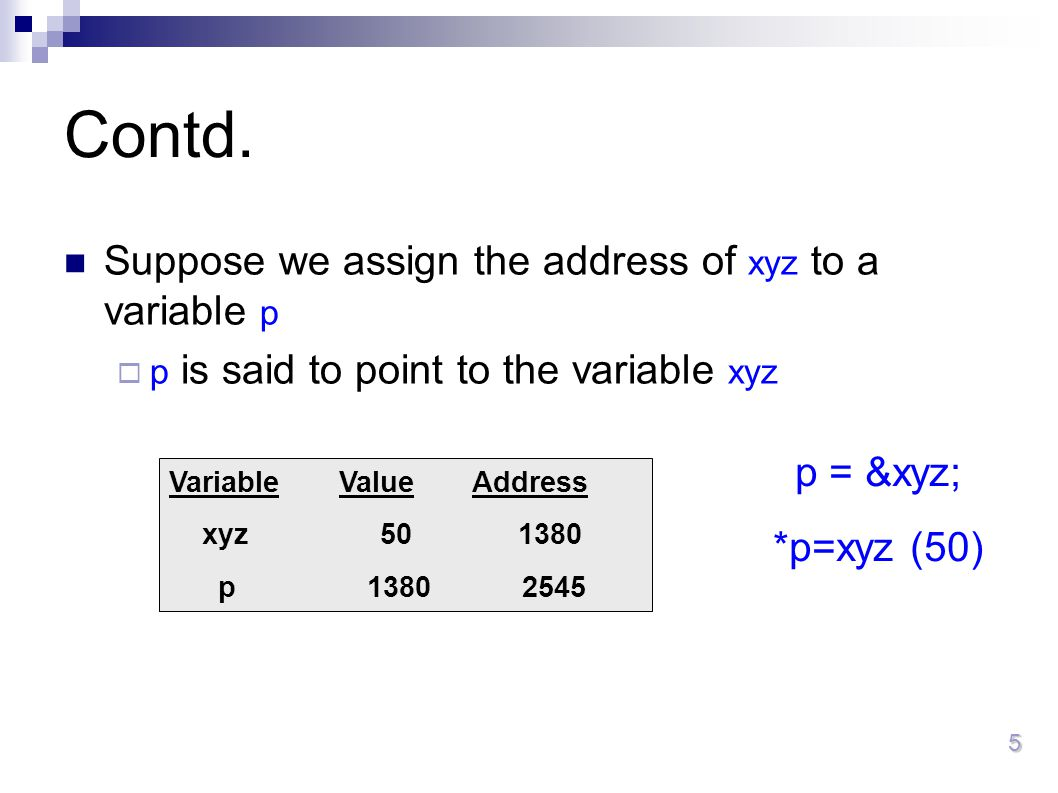5 Contd. Suppose we assign the address of xyz to a variable p  p is said to point to the variable xyz Variable Value Address xyz 50 1380 p 1380 2545