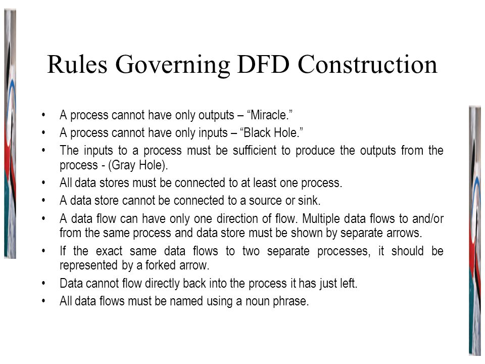 """Rules Governing DFD Construction A process cannot have only outputs – """"Miracle."""" A process cannot have only inputs – """"Black Hole."""" The inputs to a pro"""