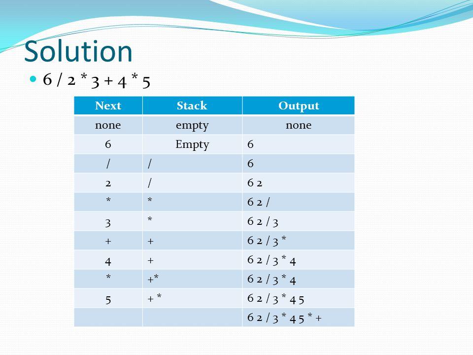 Solution 6 / 2 * 3 + 4 * 5 NextStackOutput noneemptynone 6Empty6 //6 2/6 2 **6 2 / 3*6 2 / 3 ++6 2 / 3 * 4+6 2 / 3 * 4 *+*6 2 / 3 * 4 5+ *6 2 / 3 * 4