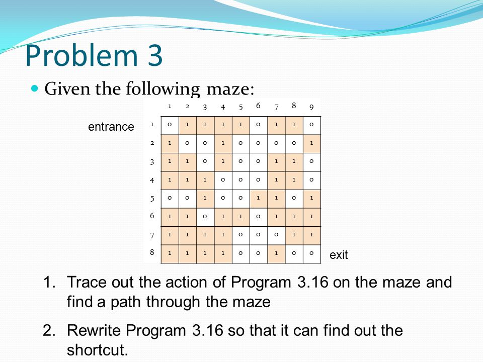 Problem 3 Given the following maze: 1.Trace out the action of Program 3.16 on the maze and find a path through the maze 2.Rewrite Program 3.16 so that
