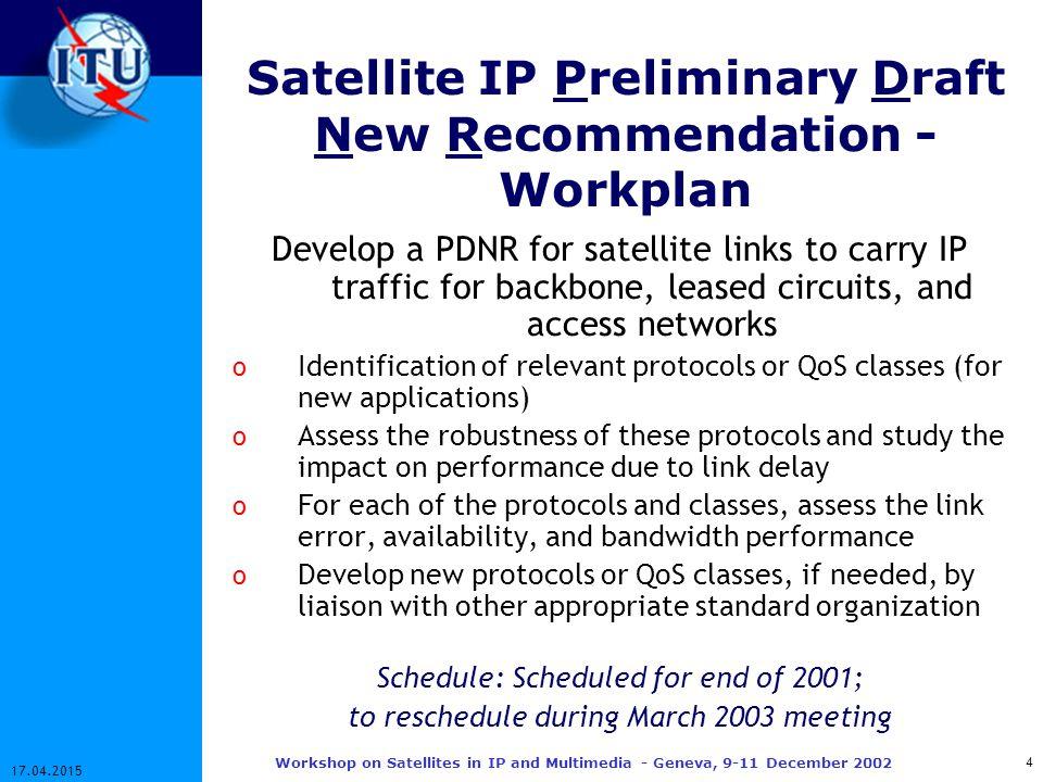 15 17.04.2015 Workshop on Satellites in IP and Multimedia - Geneva, 9-11 December 2002 IP Network Performance Cont'd… PER vs.