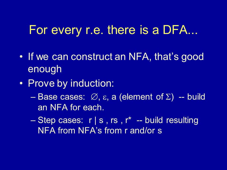 For every r.e. there is a DFA...
