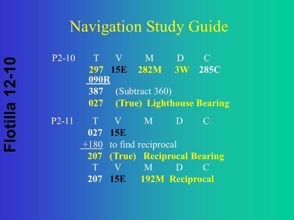 Flotilla 12-10 Navigation Study Guide 192M Reciprocal P2-10 T V M D C 15E285C 297282M 3W 090R 387 (Subtract 360) 027(True) Lighthouse Bearing P2-11 T V M D C 02715E +180to find reciprocal 207 (True) Reciprocal Bearing T V M D C 20715E
