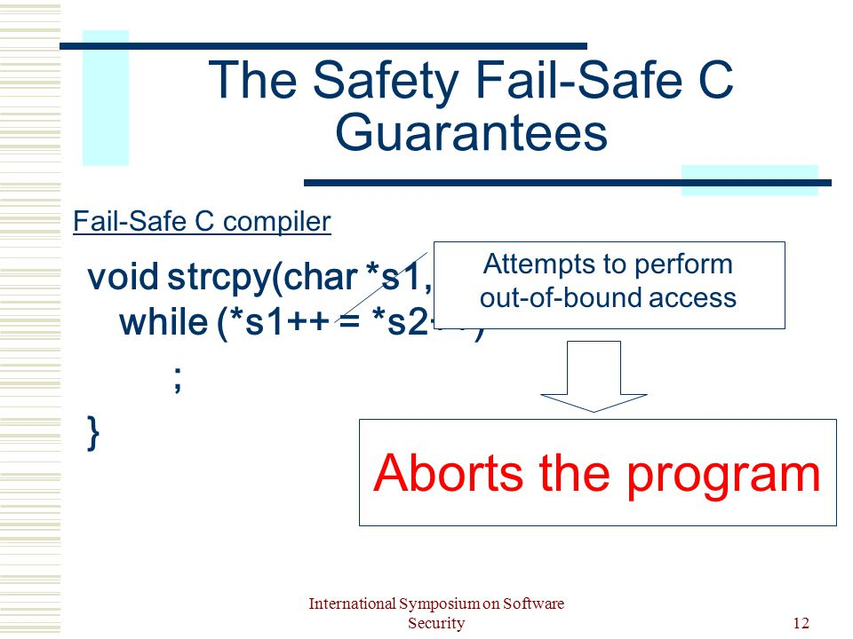 International Symposium on Software Security12 The Safety Fail-Safe C Guarantees void strcpy(char *s1, char *s2) { while (*s1++ = *s2++) ; } Attempts to perform out-of-bound access Aborts the program Fail-Safe C compiler