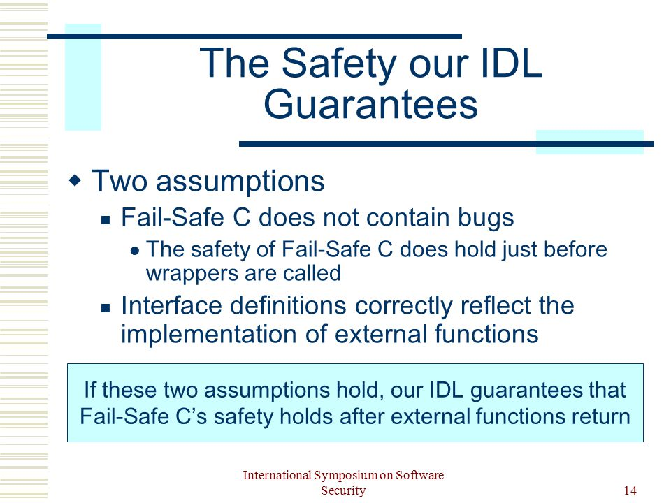 International Symposium on Software Security14 The Safety our IDL Guarantees  Two assumptions Fail-Safe C does not contain bugs The safety of Fail-Safe C does hold just before wrappers are called Interface definitions correctly reflect the implementation of external functions If these two assumptions hold, our IDL guarantees that Fail-Safe C's safety holds after external functions return
