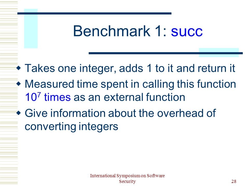 International Symposium on Software Security28 Benchmark 1: succ  Takes one integer, adds 1 to it and return it  Measured time spent in calling this function 10 7 times as an external function  Give information about the overhead of converting integers