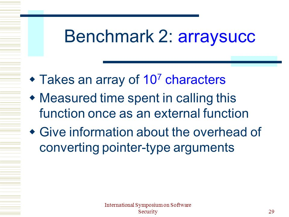International Symposium on Software Security29 Benchmark 2: arraysucc  Takes an array of 10 7 characters  Measured time spent in calling this function once as an external function  Give information about the overhead of converting pointer-type arguments