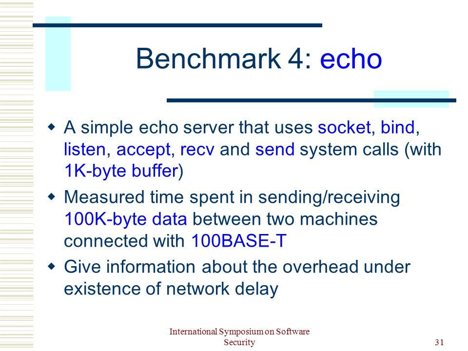 International Symposium on Software Security31 Benchmark 4: echo  A simple echo server that uses socket, bind, listen, accept, recv and send system calls (with 1K-byte buffer)  Measured time spent in sending/receiving 100K-byte data between two machines connected with 100BASE-T  Give information about the overhead under existence of network delay