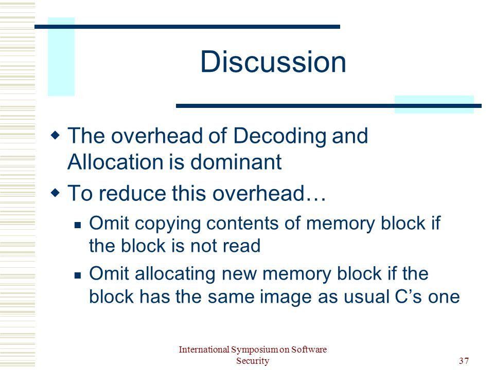 International Symposium on Software Security37 Discussion  The overhead of Decoding and Allocation is dominant  To reduce this overhead… Omit copying contents of memory block if the block is not read Omit allocating new memory block if the block has the same image as usual C's one