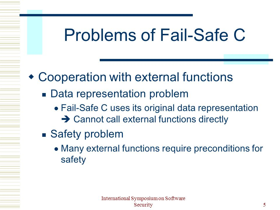 International Symposium on Software Security5 Problems of Fail-Safe C  Cooperation with external functions Data representation problem Fail-Safe C uses its original data representation  Cannot call external functions directly Safety problem Many external functions require preconditions for safety