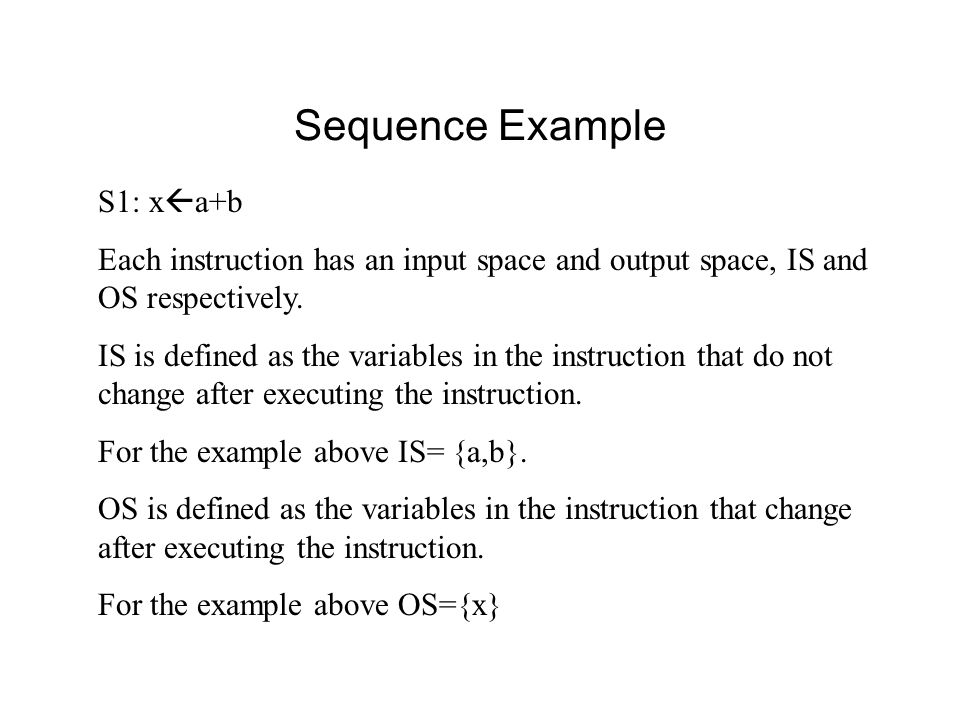 Sequence Example S1: x  a+b Each instruction has an input space and output space, IS and OS respectively.
