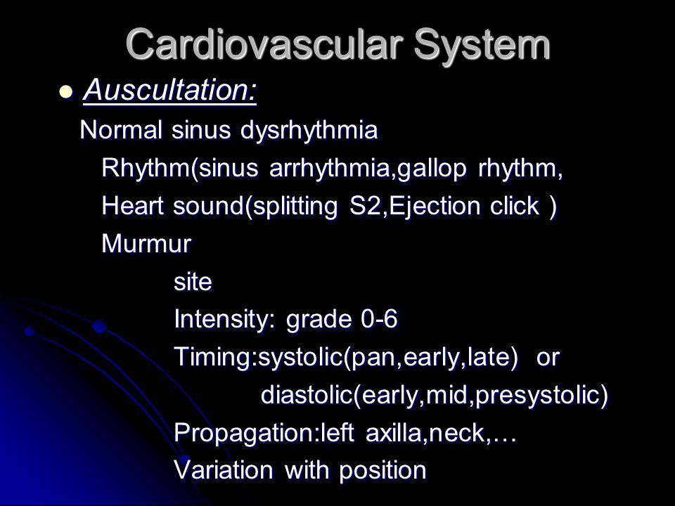 Cardiovascular System Inspection : Inspection : Dyspnea,cyanosis,tachypnea,Edema, Clubbing,Apex beat,JVP,..