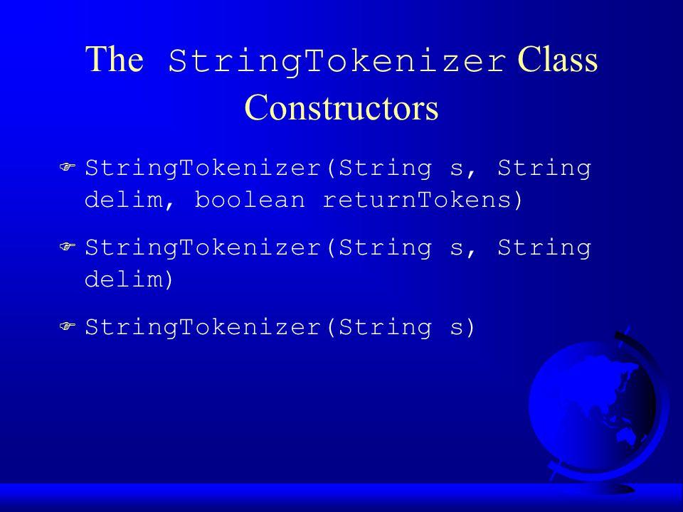 The StringTokenizer Class Constructors F StringTokenizer(String s, String delim, boolean returnTokens) F StringTokenizer(String s, String delim)  Str