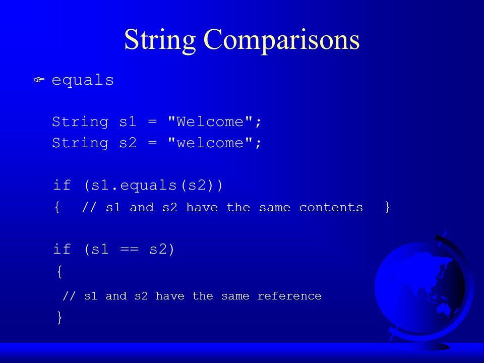 String Comparisons F equals String s1 =