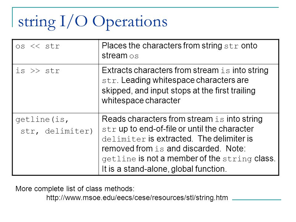 string I/O Operations os << str Places the characters from string str onto stream os is >> str Extracts characters from stream is into string str.