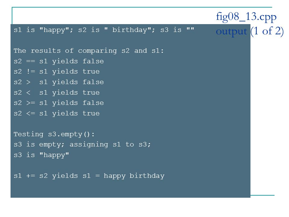s1 is happy ; s2 is birthday ; s3 is The results of comparing s2 and s1: s2 == s1 yields false s2 != s1 yields true s2 > s1 yields false s2 < s1 yields true s2 >= s1 yields false s2 <= s1 yields true Testing s3.empty(): s3 is empty; assigning s1 to s3; s3 is happy s1 += s2 yields s1 = happy birthday fig08_13.cpp output (1 of 2)