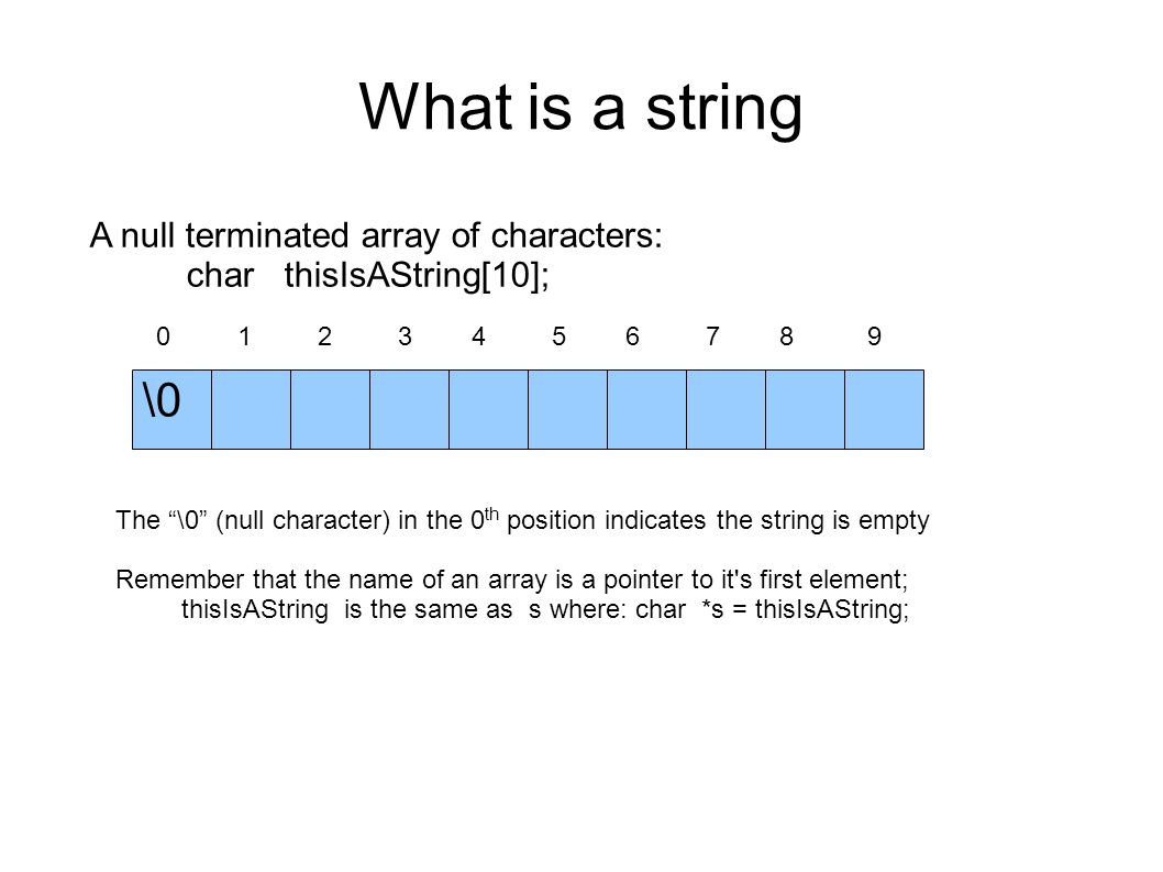 What is a string A null terminated array of characters: char thisIsAString[10]; 0 1 2 3 4 5 6 7 8 9 \0 The \0 (null character) in the 0 th position indicates the string is empty Remember that the name of an array is a pointer to it s first element; thisIsAString is the same as s where: char *s = thisIsAString;