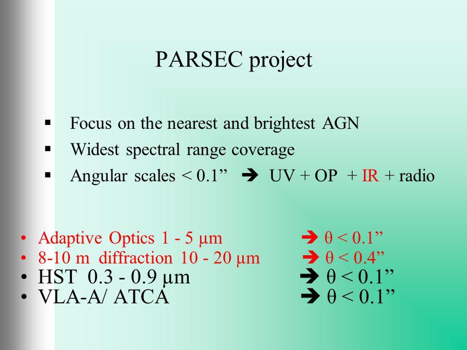 1 /parsec Core size in parsecs 1 - 5 µm T2 CenA 16 < 1 T2 Circinus 19 ~ 2 L Sombrero 66 < 12 T2 N1068 70 < 4 L N1097 70 < 11 L M 87 80 < 11 T2 N1365 87 < 6 T1 N1566 96 < 11 L N1052 100 < 13 T2 MCG-05-23-16 168 < 19 T1 N3783 196 < 16 T1 N7469 330 < 26 T1.5 Mrk1239 384 < 40 QSO 3C273 3200 < 180 Some of the nearest …
