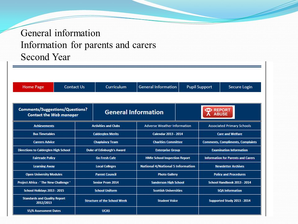 General information Information for parents and carers Second Year