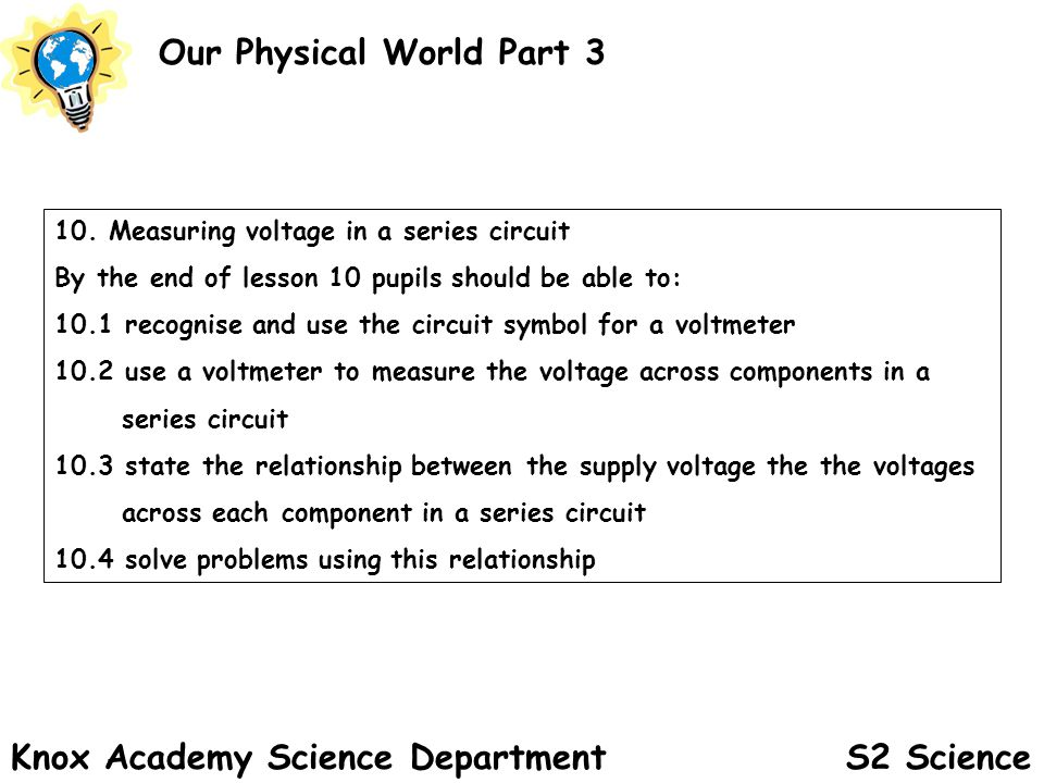 S2 Science Our Physical World Part 3 Knox Academy Science Department 10.