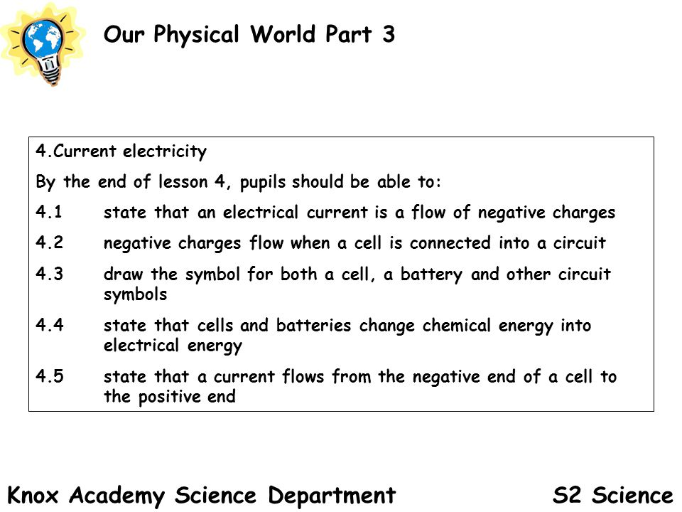 S2 Science Our Physical World Part 3 Knox Academy Science Department 4.Current electricity By the end of lesson 4, pupils should be able to: 4.1state