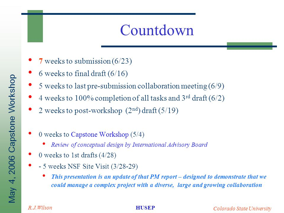May 4, 2006 Capstone Workshop HUSEP Colorado State University R.J.Wilson Countdown 7 weeks to submission (6/23) 6 weeks to final draft (6/16) 5 weeks