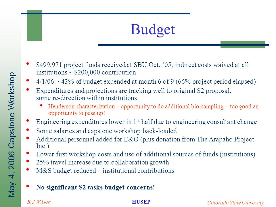 May 4, 2006 Capstone Workshop HUSEP Colorado State University R.J.Wilson Budget $499,971 project funds received at SBU Oct. '05; indirect costs waived