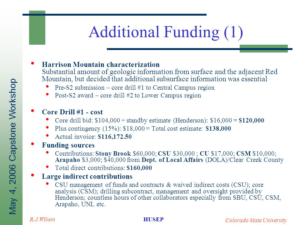 May 4, 2006 Capstone Workshop HUSEP Colorado State University R.J.Wilson Additional Funding (1) Harrison Mountain characterization Substantial amount