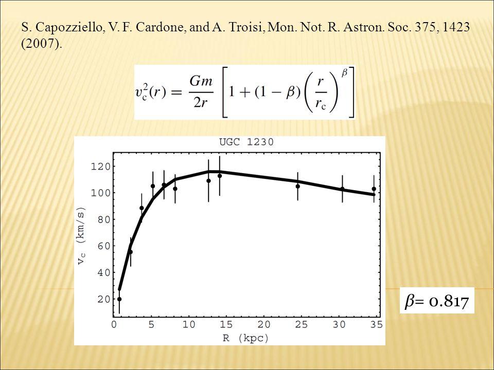 S. Capozziello, V. F. Cardone, and A. Troisi, Mon. Not. R. Astron. Soc. 375, 1423 (2007). β= 0.817