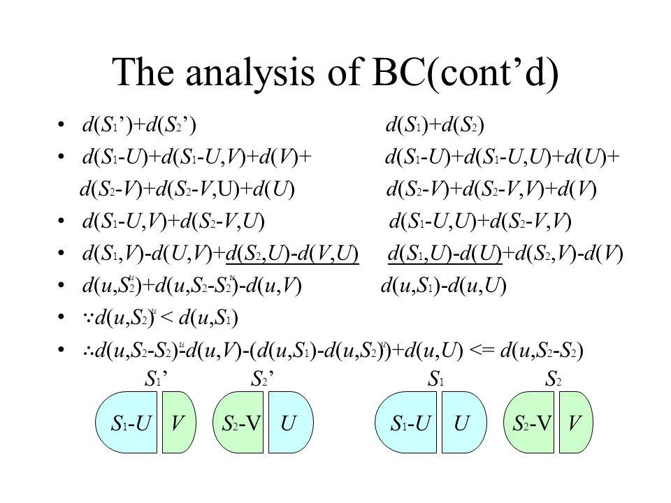 The analysis of BC(cont'd) d(S 1 ')+d(S 2 ') d(S 1 )+d(S 2 ) d(S 1 -U)+d(S 1 -U,V)+d(V)+ d(S 1 -U)+d(S 1 -U,U)+d(U)+ d(S 2 -V)+d(S 2 -V,U)+d(U) d(S 2